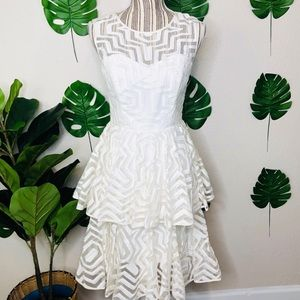 Milly Clara Aztec Tiered Eyelet Ivory Mini Dress
